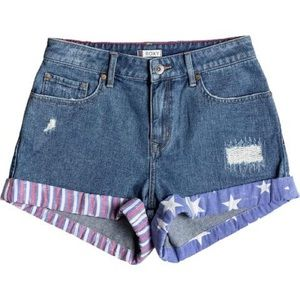"""Roxy """"Way to Home"""" American Flag High Rise Shorts"""